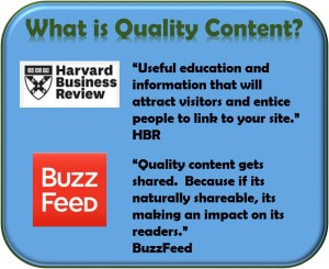 Quote by Harvard Business review and BuzzFeed on Quality Content