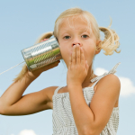 Girl Listening on Tin can